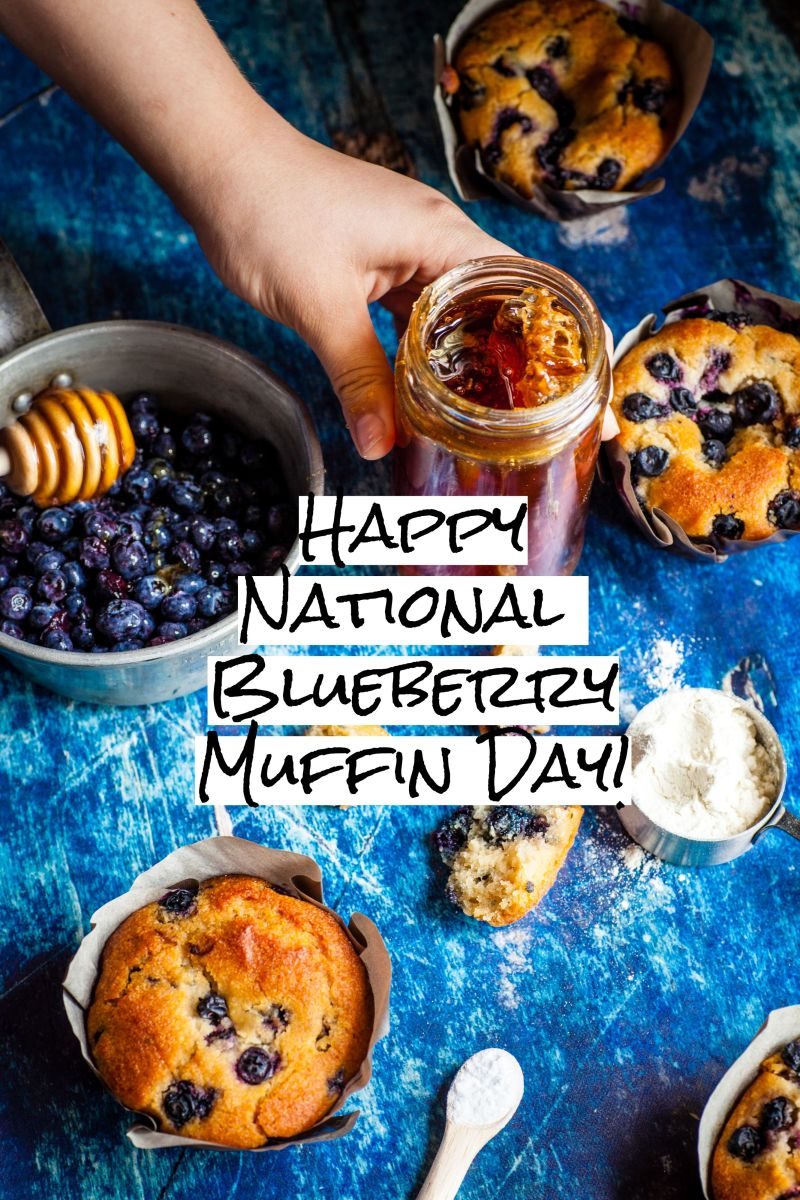 Scrumptious blueberry muffins, perfect as snack or dessert. Happy National Blueberry Muffin Day!