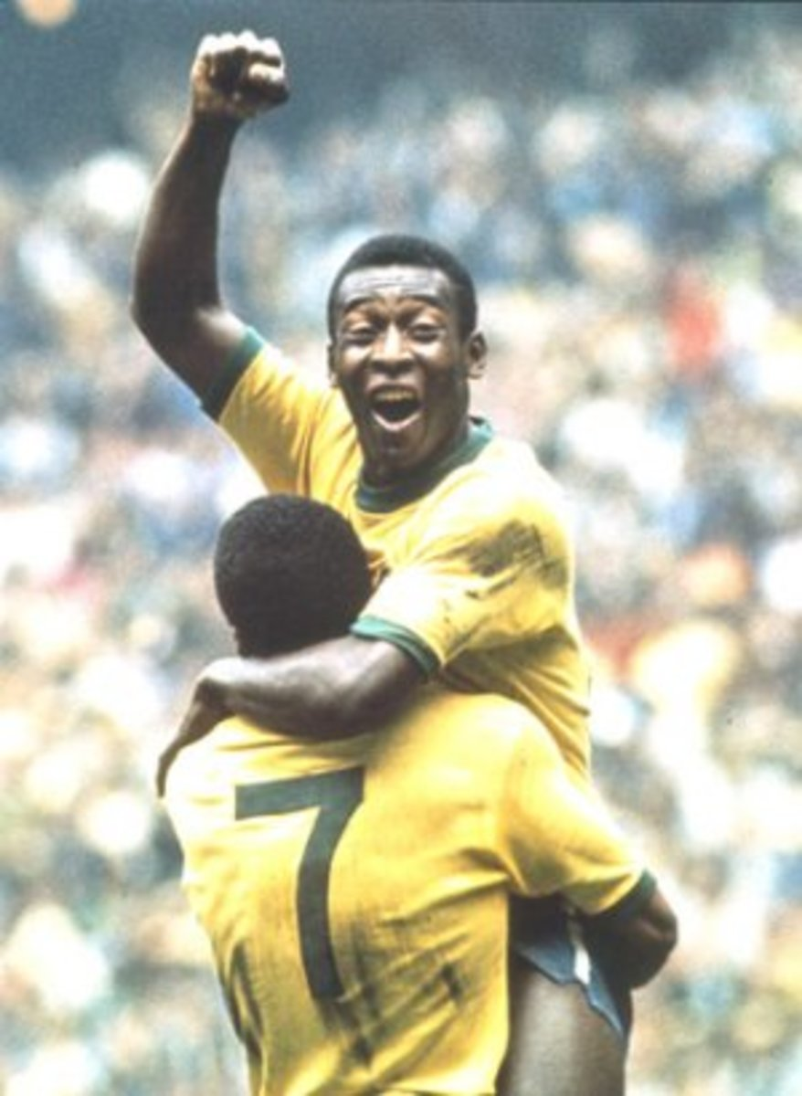 Pele celebrates with Jairzinho