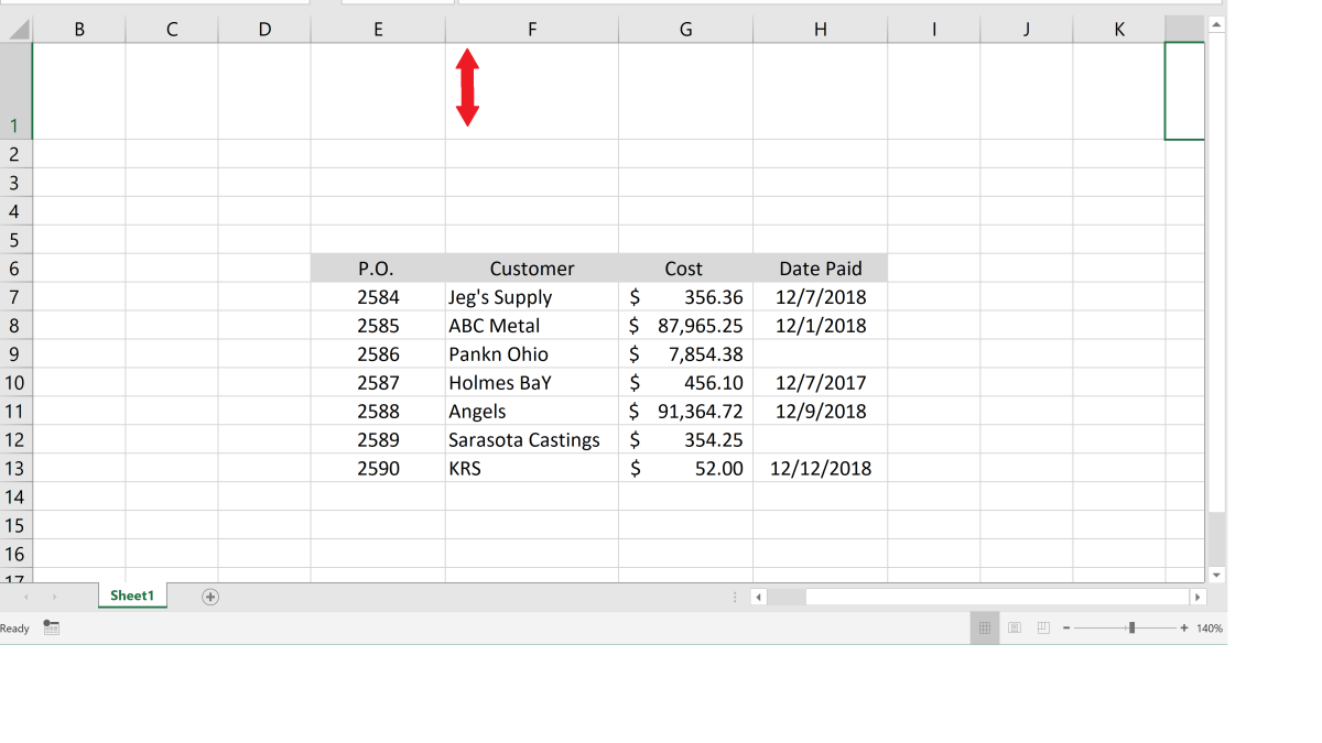 Inserting a form control button requires a small number of steps. Since the spreadsheet that I am using here will be ongoing, I want this button to appear in a fixed and convenient location at the top of the spreadsheet.