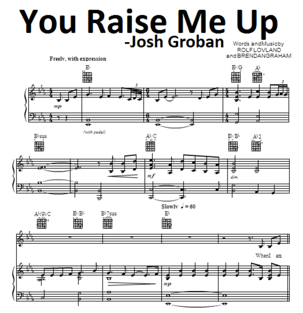 You Raise Me Up Piano Chords