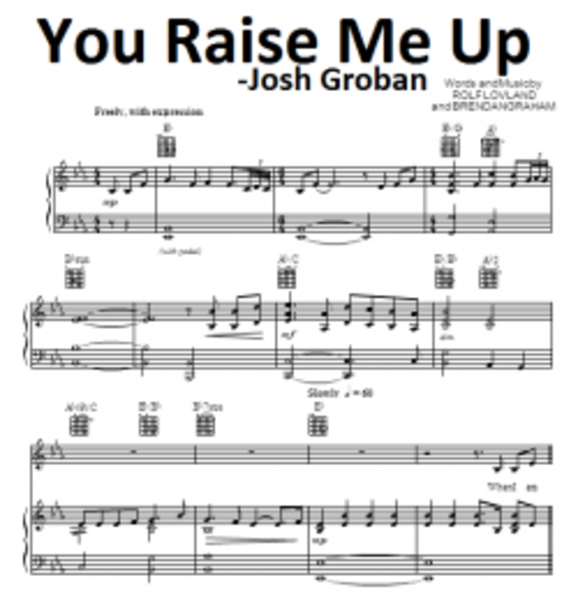 You Raise Me Up - about (Sheet Music) - Piano Chords