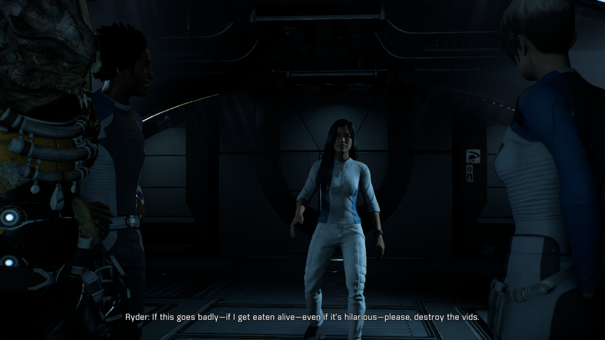 My screenshot of Ryder joking about first contact.