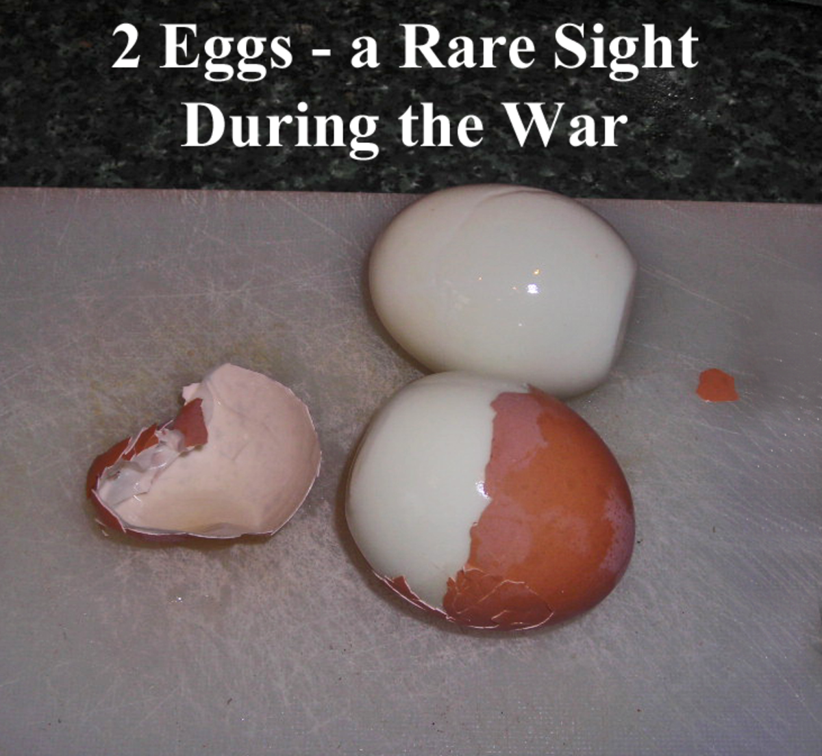 Hard-boiled eggs, rations for two. They would go further if mashed.