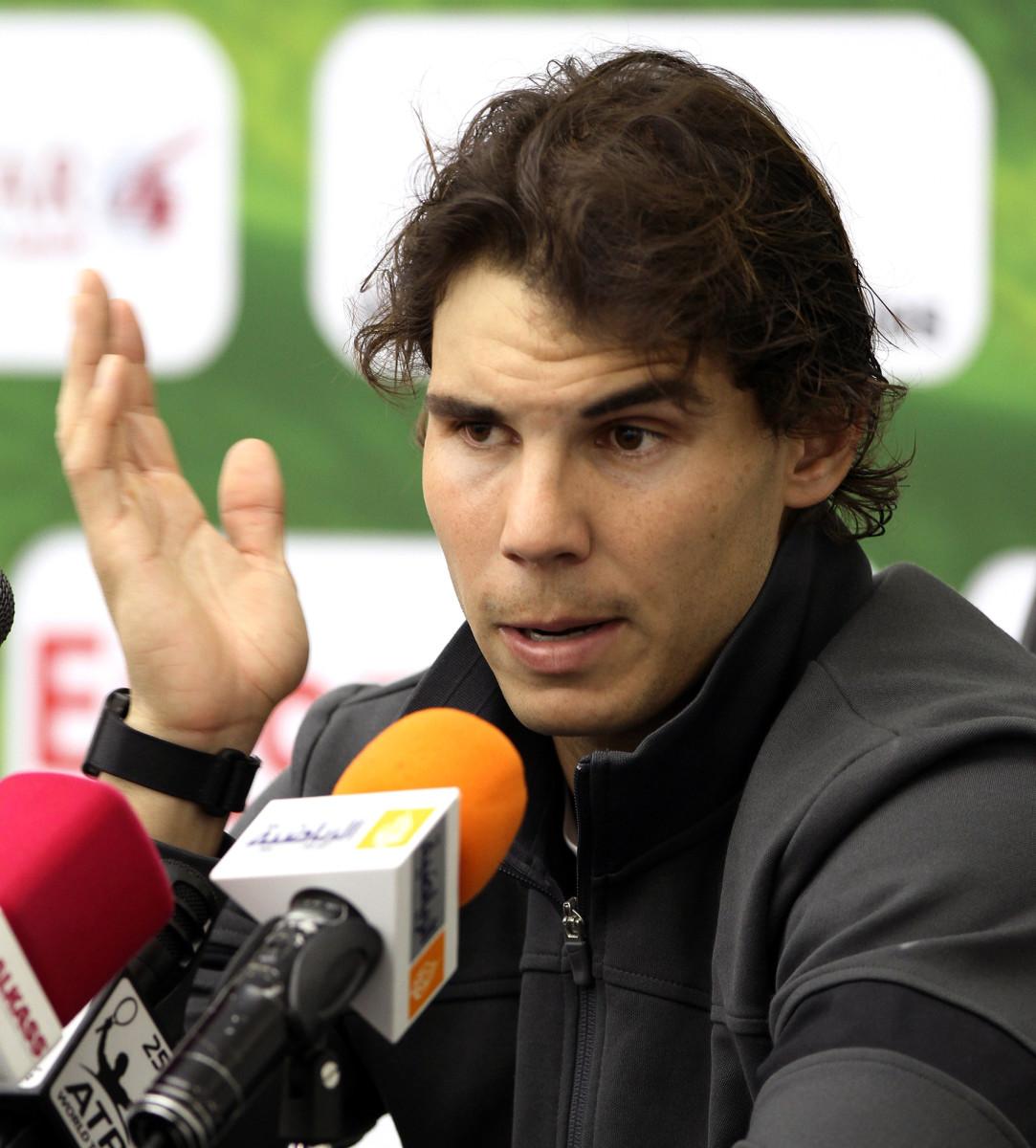 Rafa Nadal at a press conference in Doha