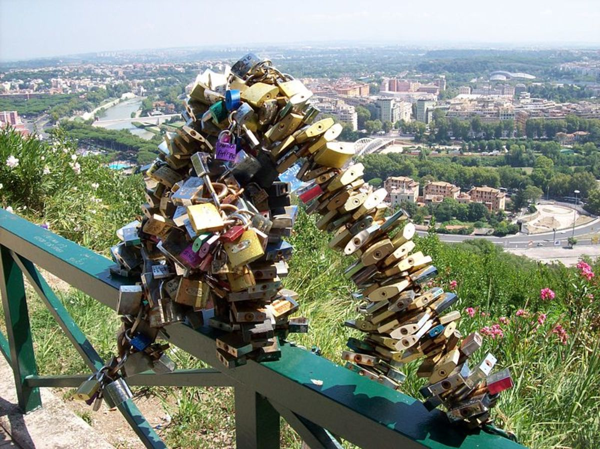 """Locks left by lovers to celebrate their eternal """"union""""."""