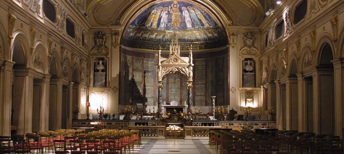 A view of the interior of Santa Cecilia in Trastevere.