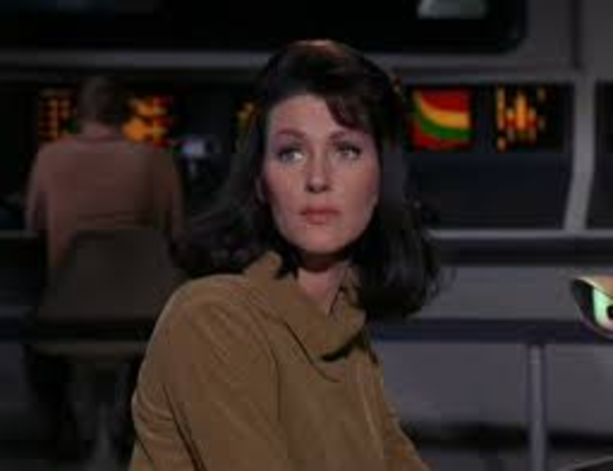 Majel Barrett (billed as M. Leigh Hudec for this episode) played the stoic first officer of the Enterprise named Number One.