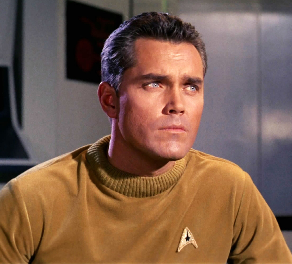 Jeffrey Hunter as Captain Christopher Pike of the Starship Enterprise