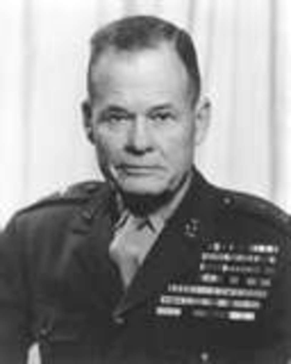 "A Marine's Marine...In fact Marines still say: ""Good night, Chesty Puller...Wherever you are!"" He is the most decorated U.S. Marine in History with five Navy Crosses and a Distinguished Service Cross."