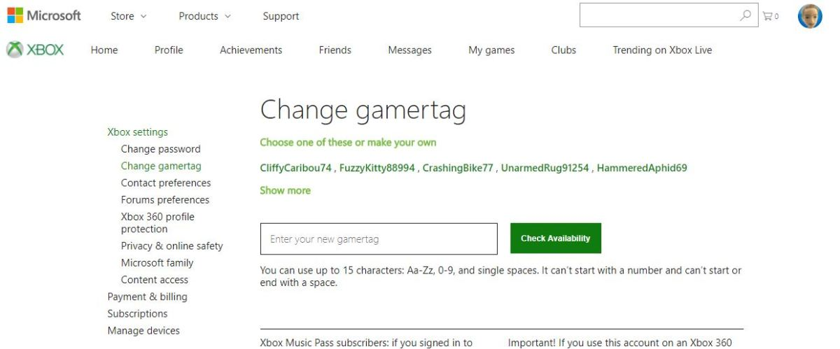 "Enter the new gamertag you'd like to change to in the Enter Your New Gamertag field under Change Gamertag, and then click the green ""Check Availability"" button."