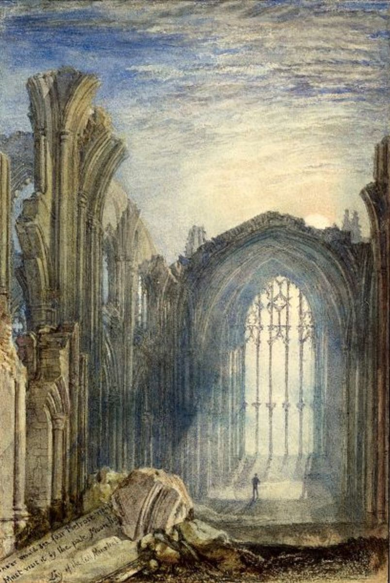 David I founded Melrose Abbey. The painting of the ruined abbey was produced by J.M.W.Turner (1775-1851) in 1822.
