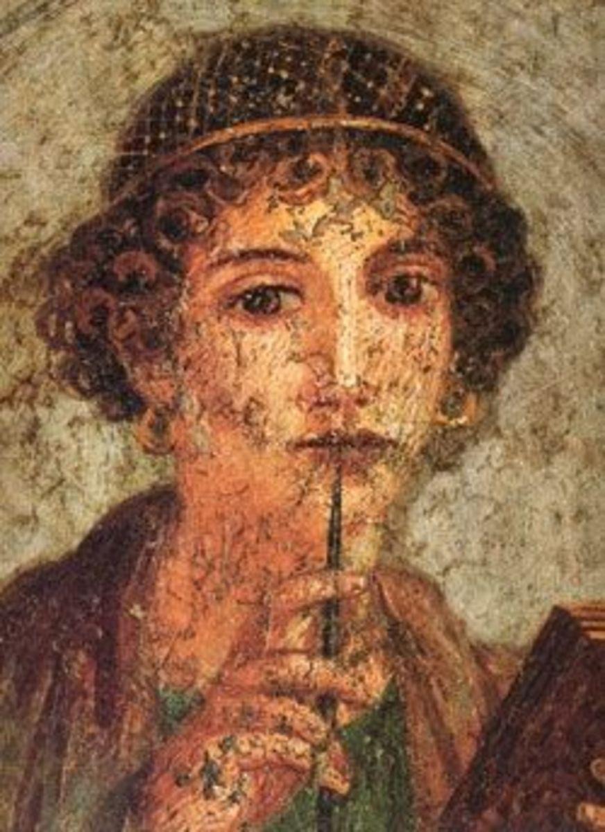 Roman Schoolgirl with Stylus, Fresco, Pompeii