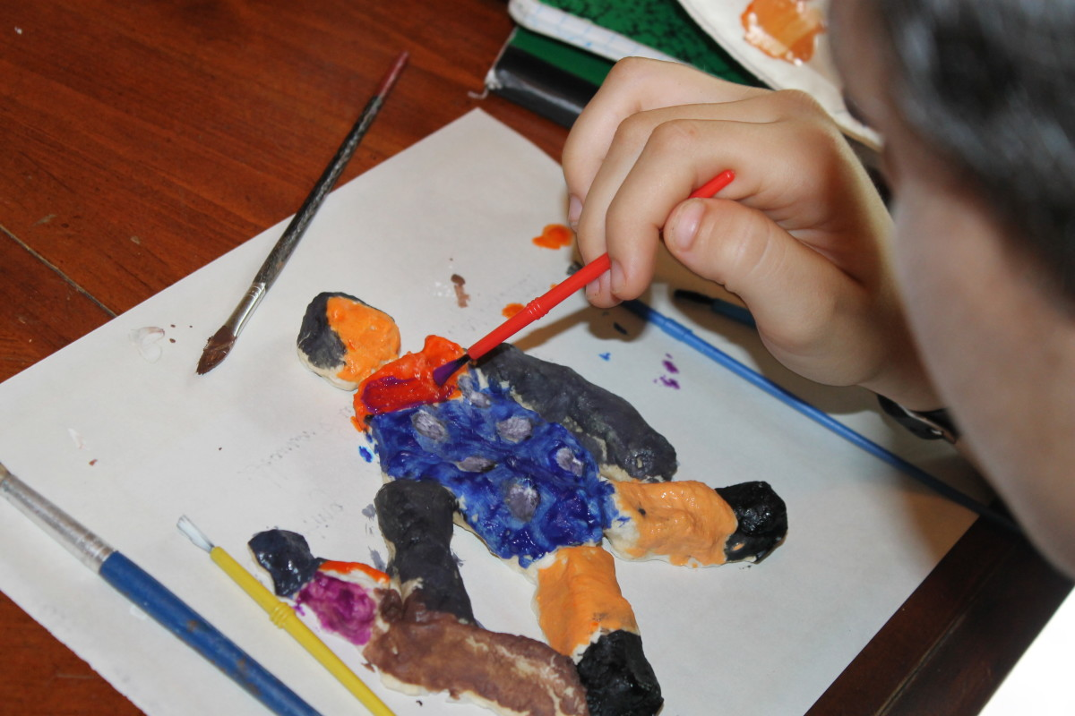 """Painting a """"terracotta"""" soldier made from salt dough"""