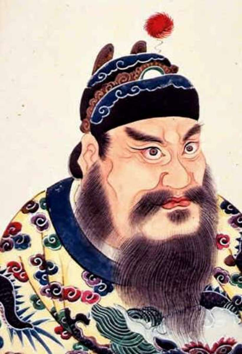 A portrait painting of Qin Shi Huangdi, first emperor of the Qin Dynasty, from an 18th-century album of Chinese emperors' portraits.