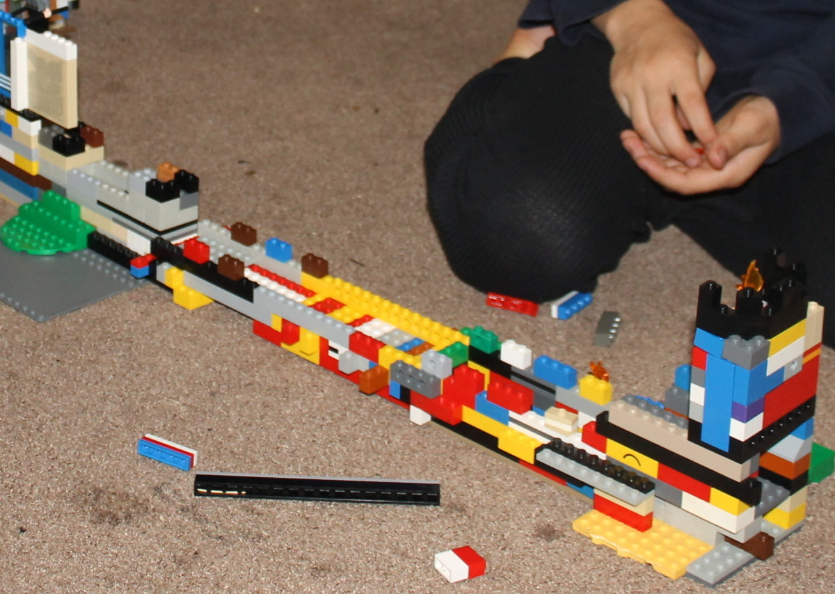 Working together to combine the individual Lego walls to become the Great Wall of China