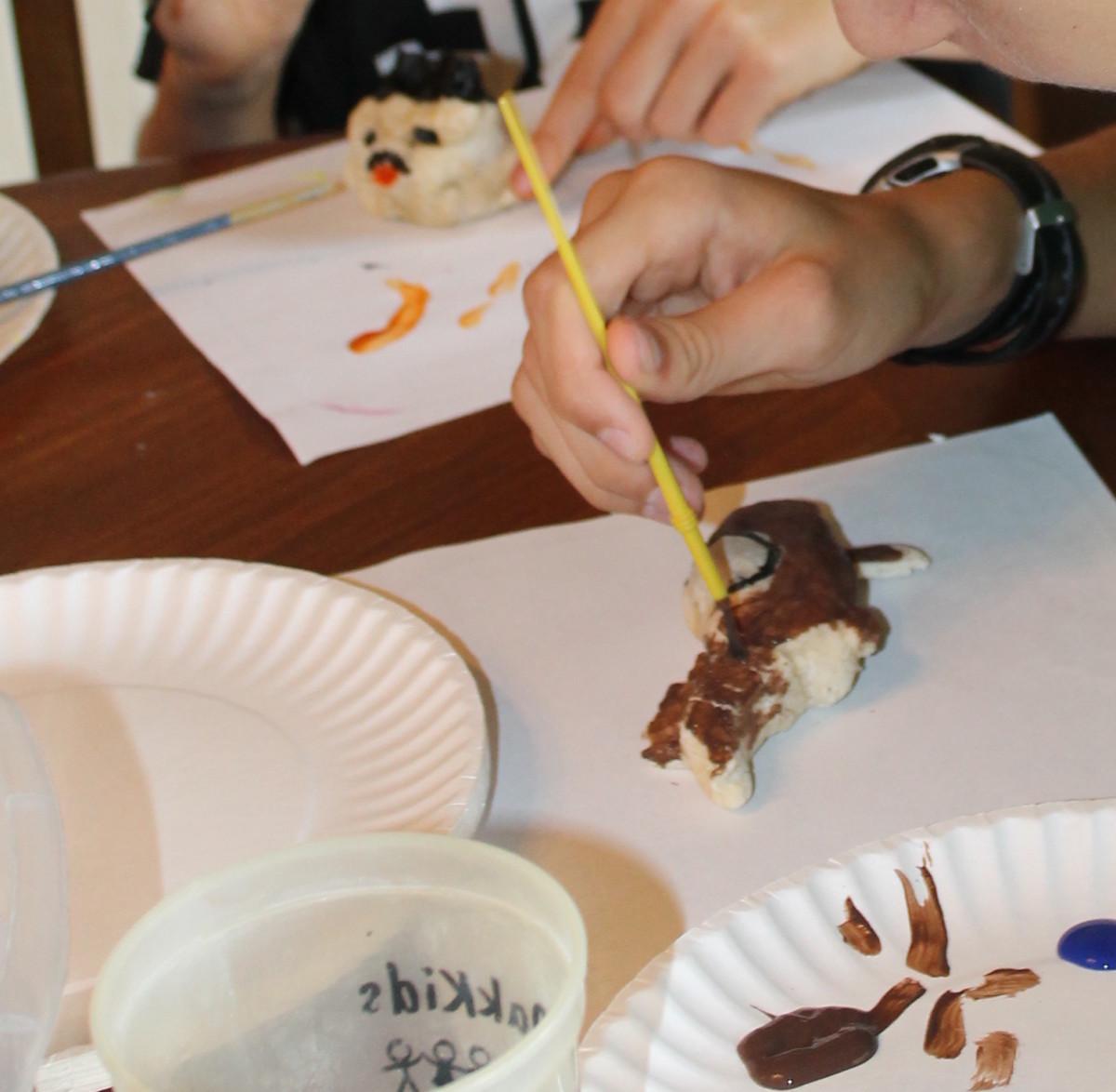 """Painting a salt dough """"terracotta"""" horse"""
