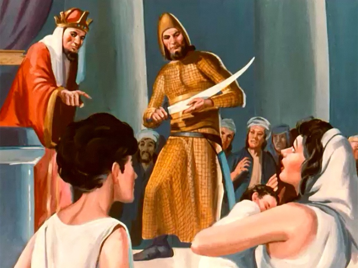 Solomon suggested the baby cut in half so the ladies could share, knowing the real mother would be revealed.
