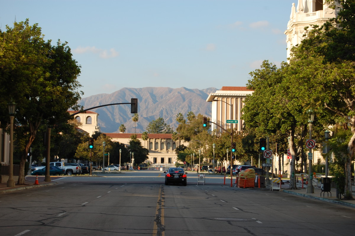 Looking North toward the Public Library--City Hall on the right