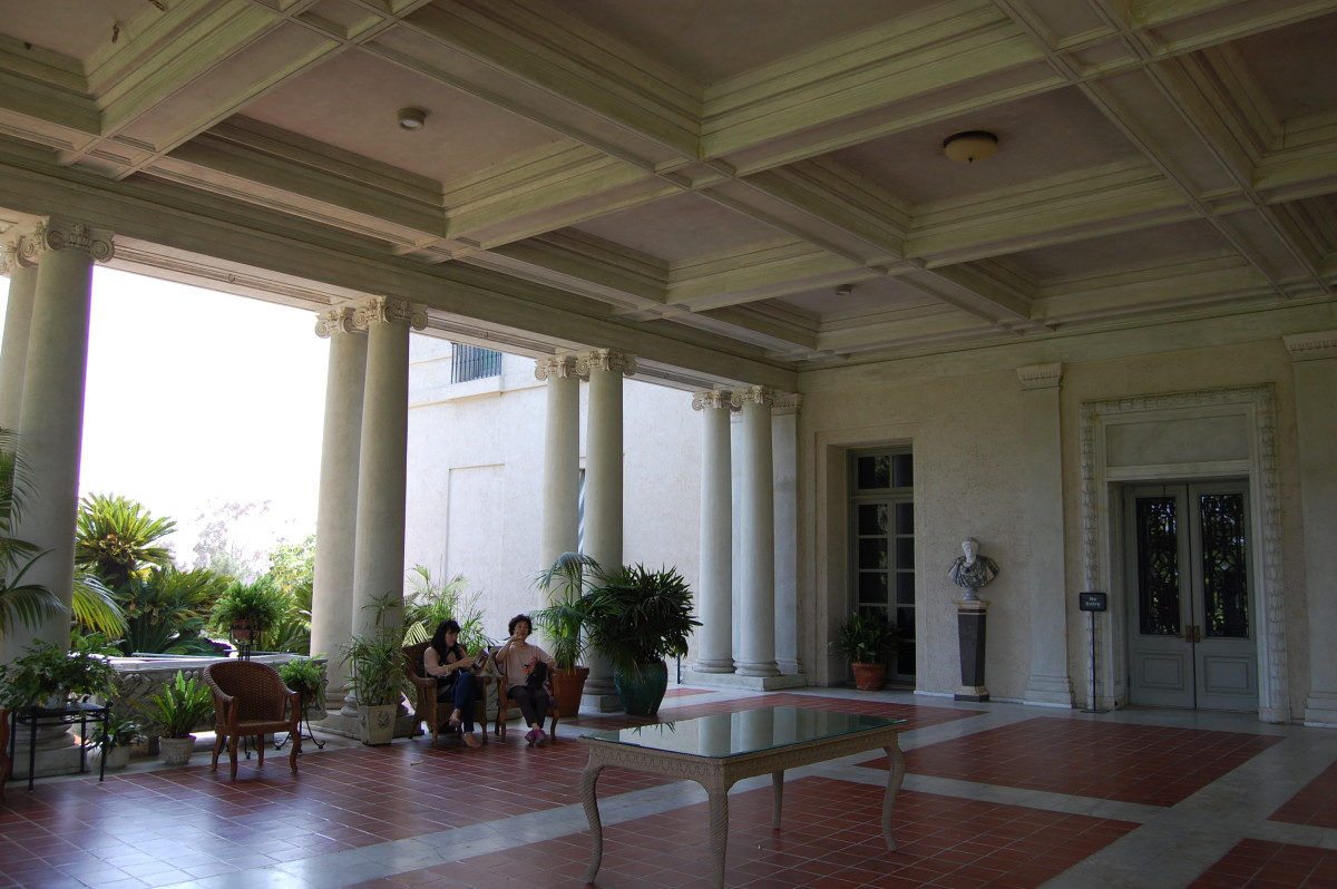 Just the porch of the Huntington home turned Museum
