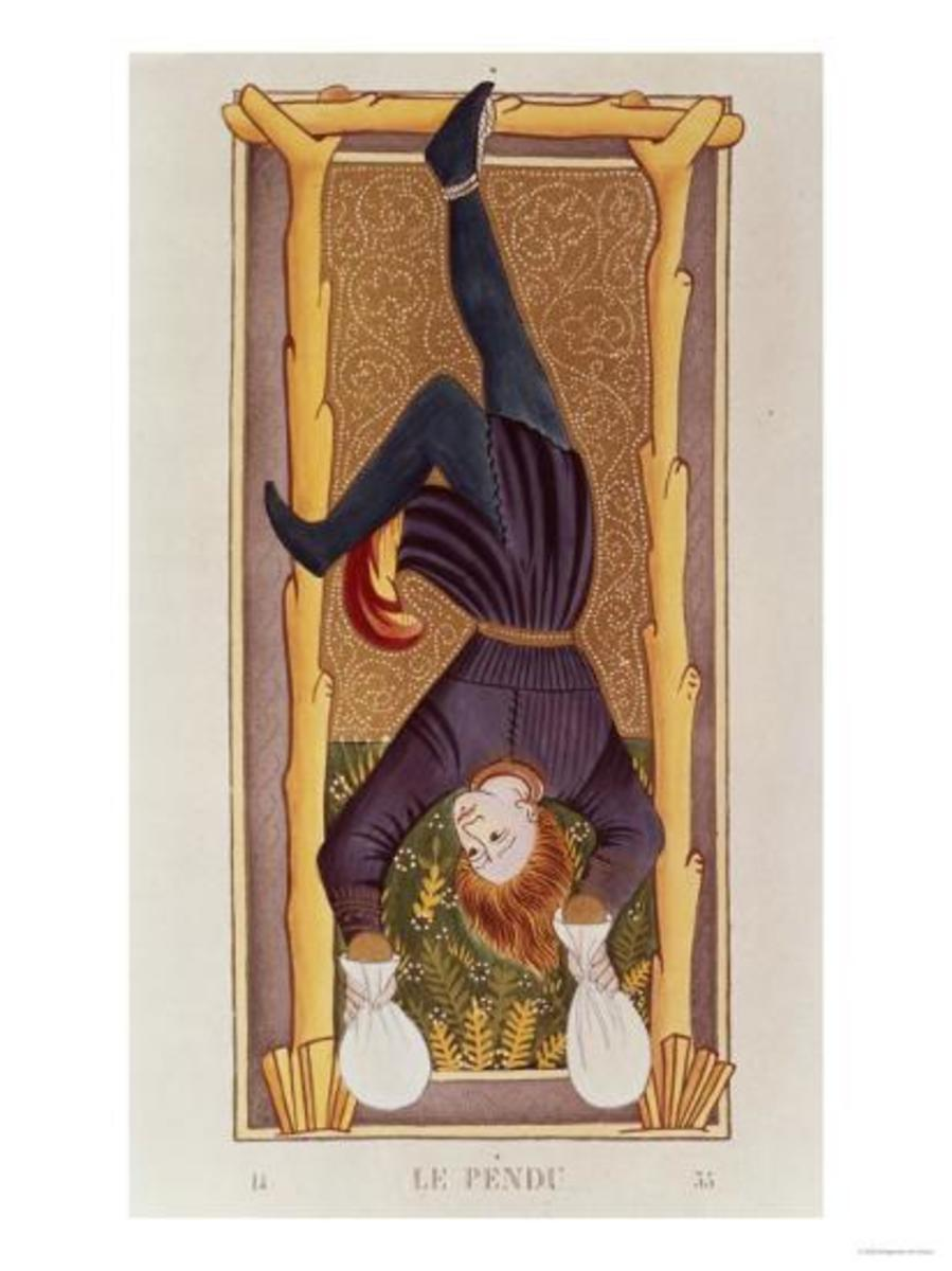 The Hanged Man has many possible interpretations. Some see it as the card of surrender; it represents a martyr. Some see the card as punishment; it represents a traitor.