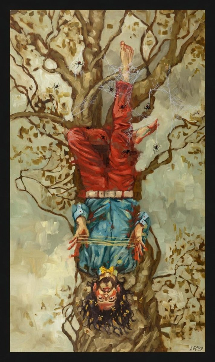 The Hanged Man is about getting tangled in your conscious or subconscious. You're stuck and indecisive.