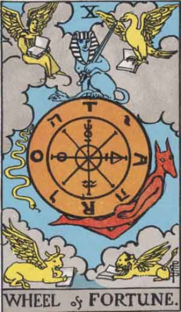 The Wheel of Fortune card in Tarot has been around since the 15th century. It is loaded with religious symbolism from astrology, Christianity, and the ancients.