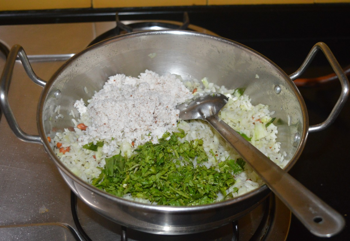 Add grated coconut and finely chopped coriander leaves.