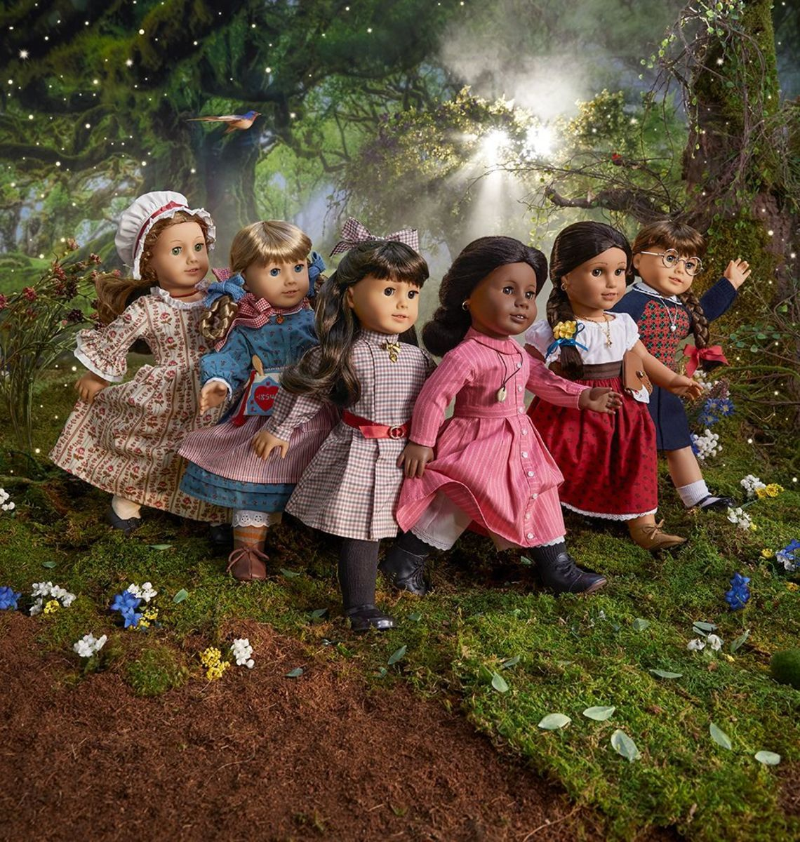 A promotional photo of the 35th Anniversary Collection showing the first 6 AG dolls in their Classic Meet Outfits