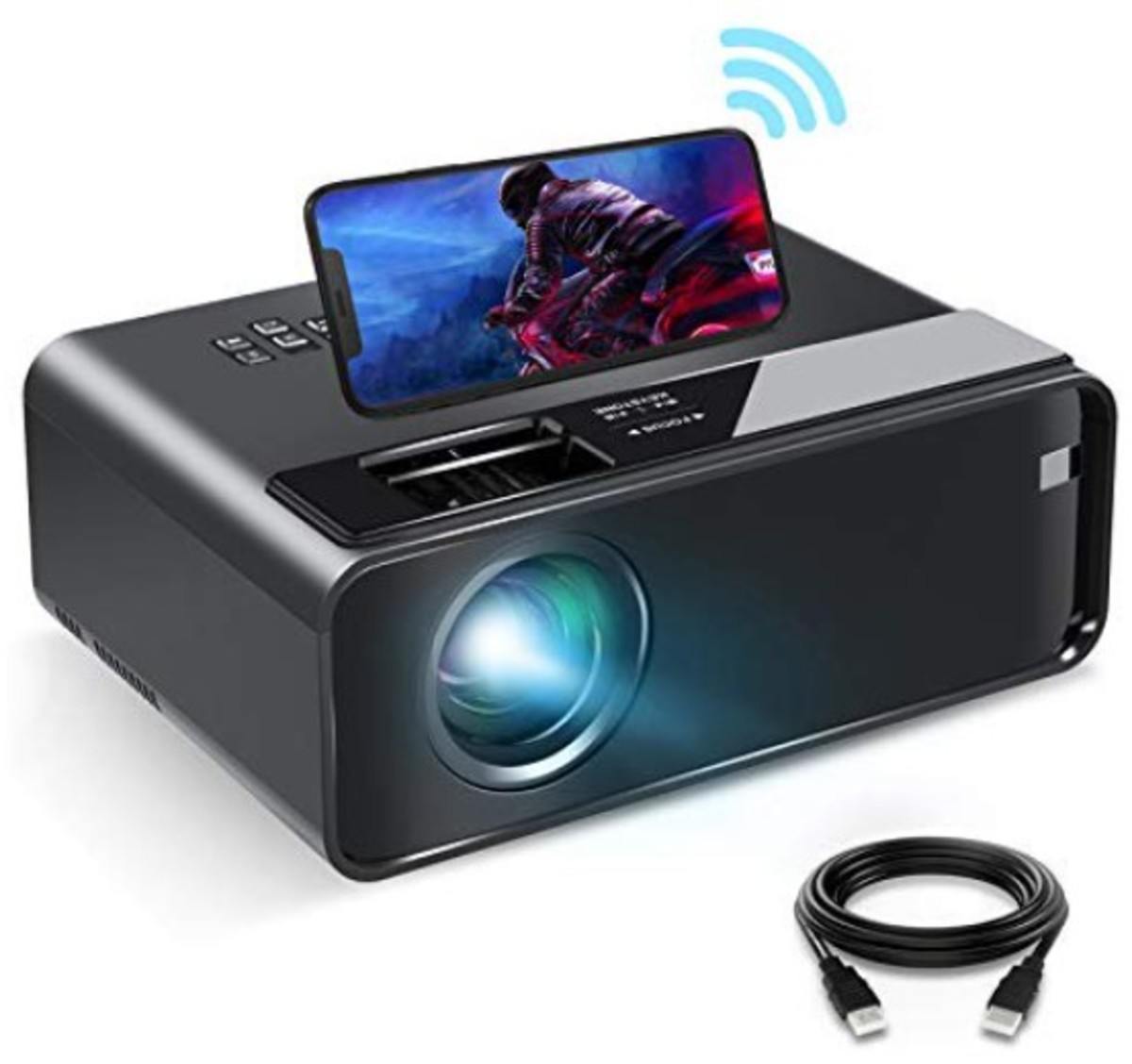 """Mini Projector for iPhone and Android phones, ELEPHAS 2021 Upgrade WiFi Movie Projector with Synchronize Smartphone Screen, 1080P HD Portable Projector Supported 200"""" Screen, Compatible with Android/iOS/HDMI/USB/SD/VGA"""