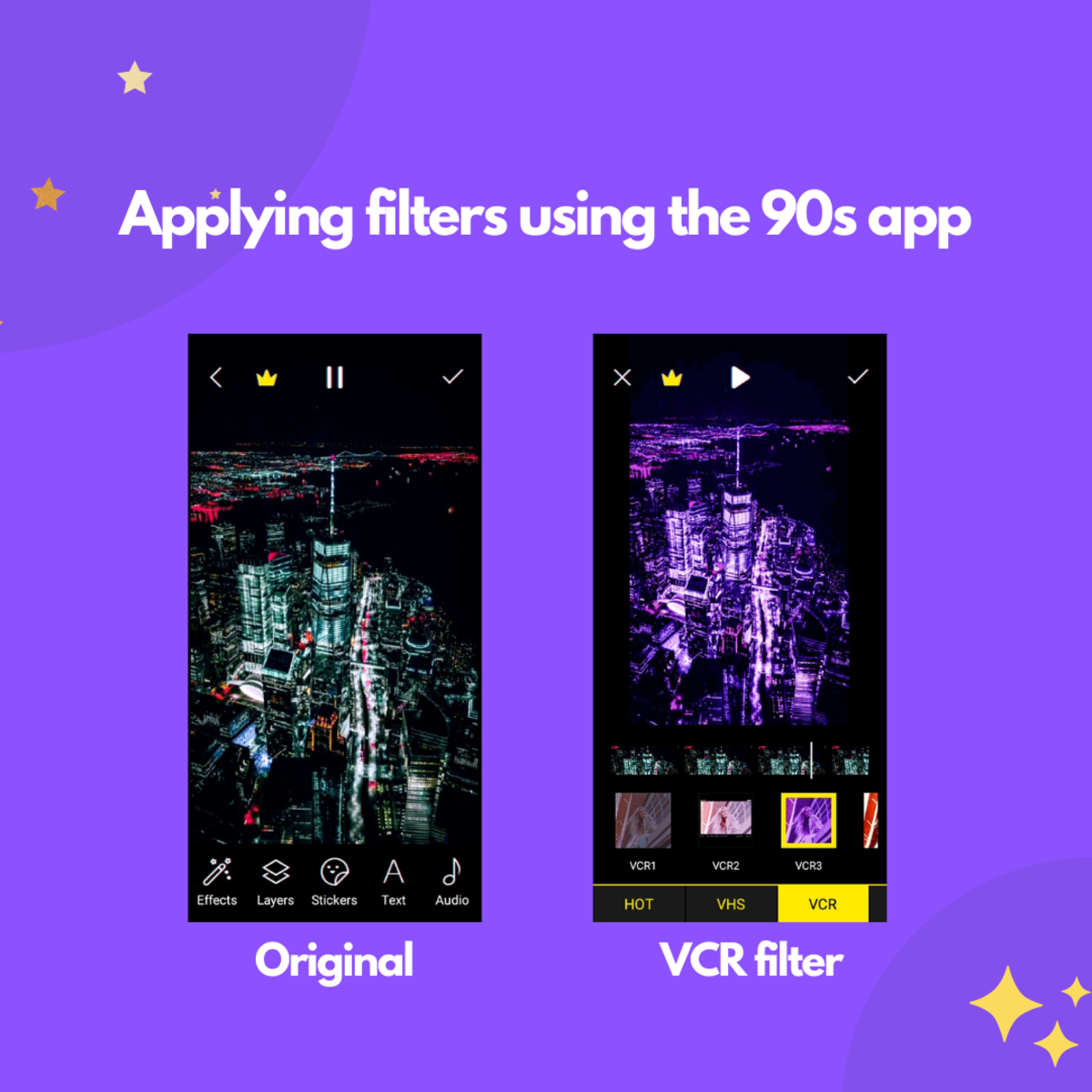 An example of using filters with the 90s app, the left-hand side screenshot shows the original and the right-hand side shows the filter applied, leading to an aesthetic and pretty effect