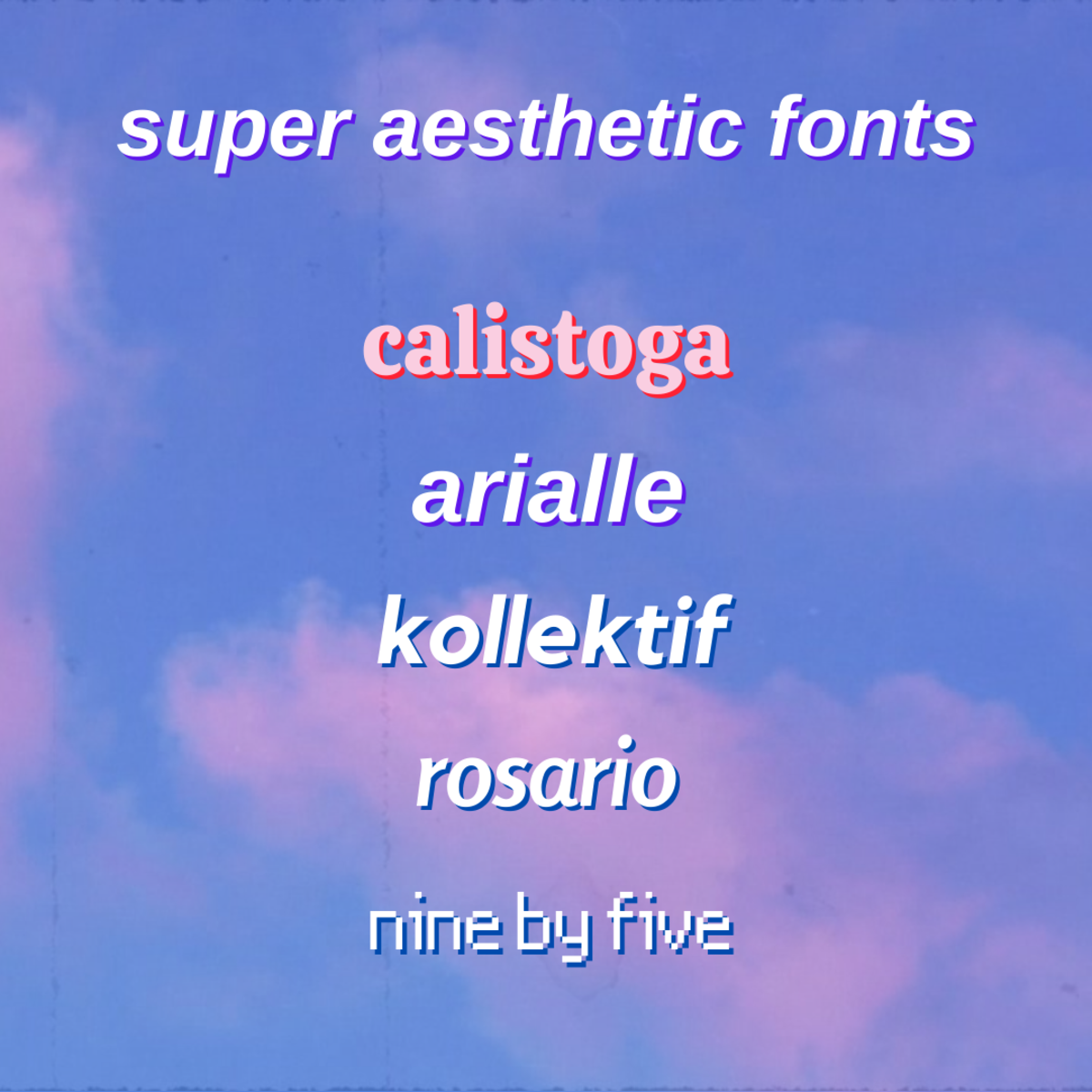 Some examples of aesthetic fonts for you to try out in your videos!
