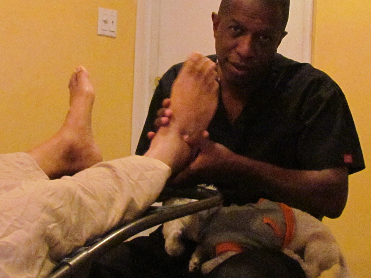 Mr. Fulford, spends about an hour doing reflexology on the client to possibly support the body to a healthier state.