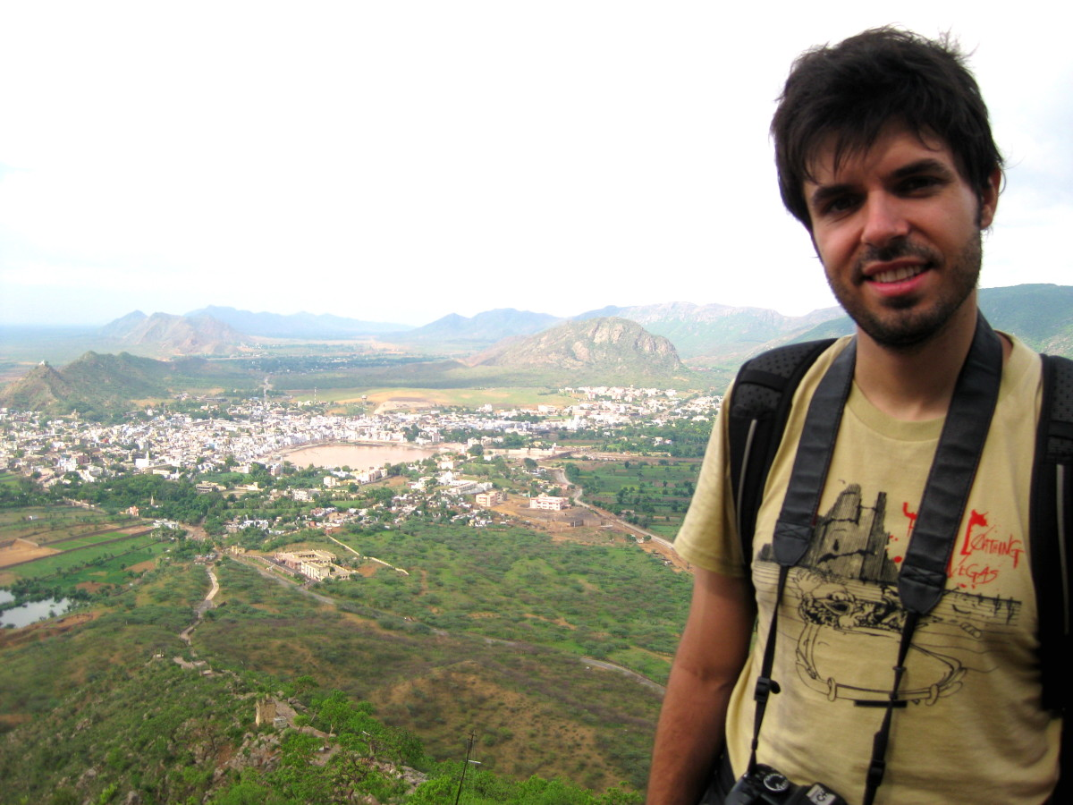 Jorge on top of the hill where the Sarawati Temple is located