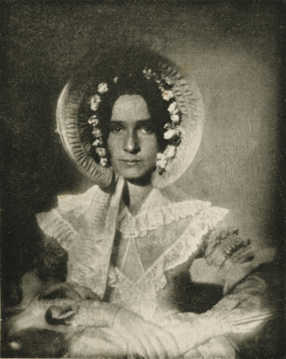 The first photograph of a woman; 1839 or 1840; Dorothy Catherine Draper wearing a bonnet decorated under the brim with pleats and flowers