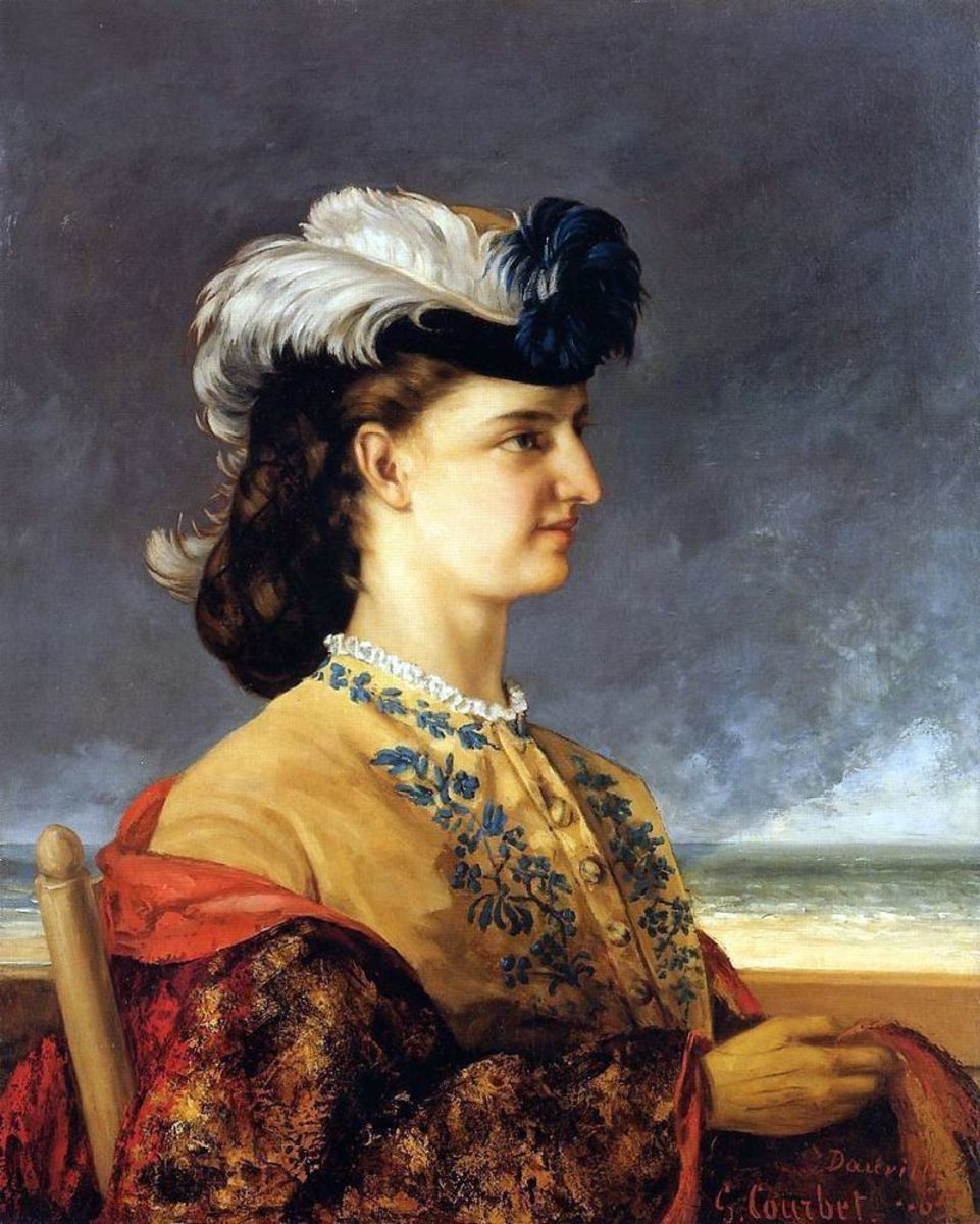Circa 1865 - Woman in a small hat with big feathers