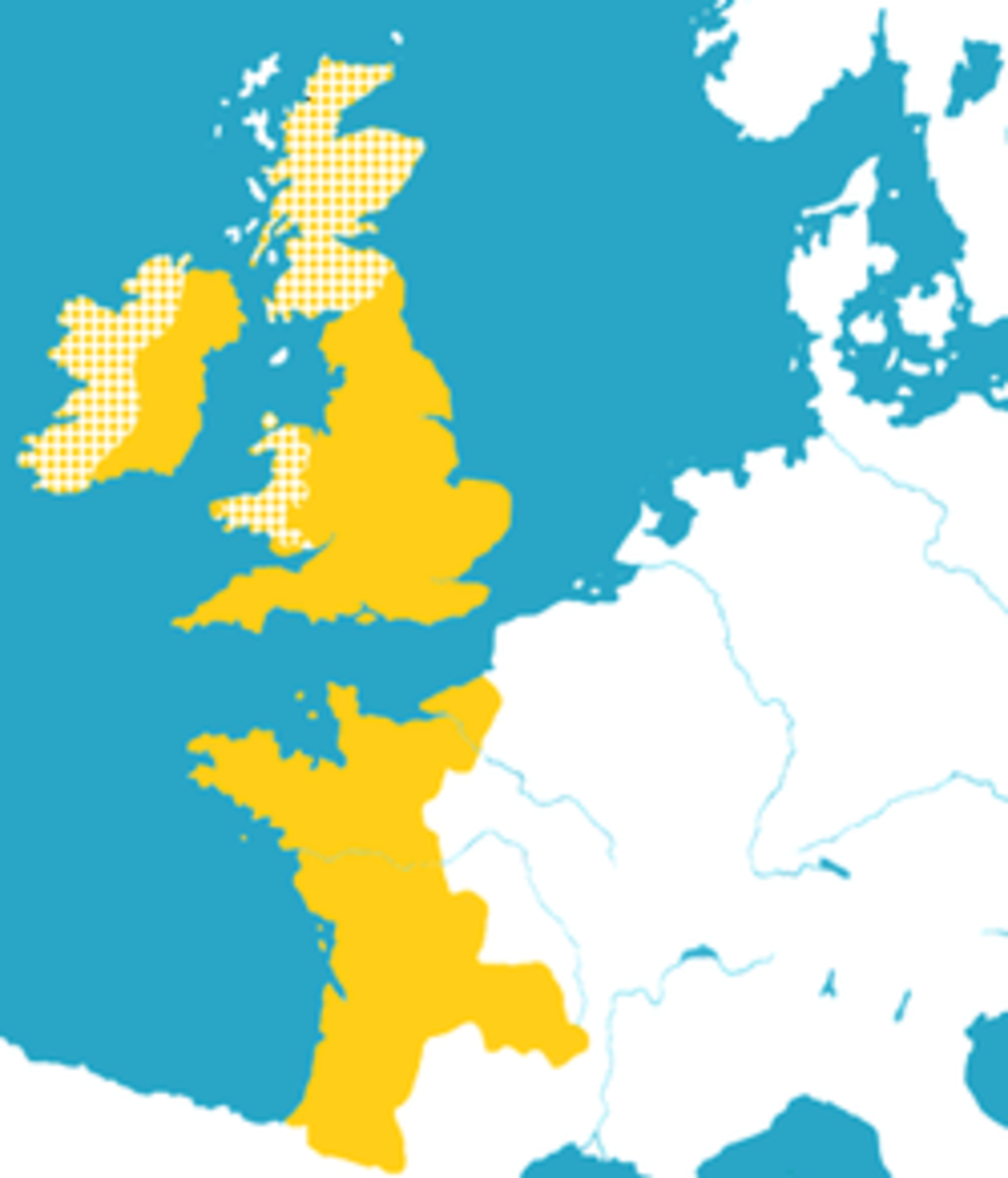 Lands directly administered by Henry in Orange, yellow lands are vassals