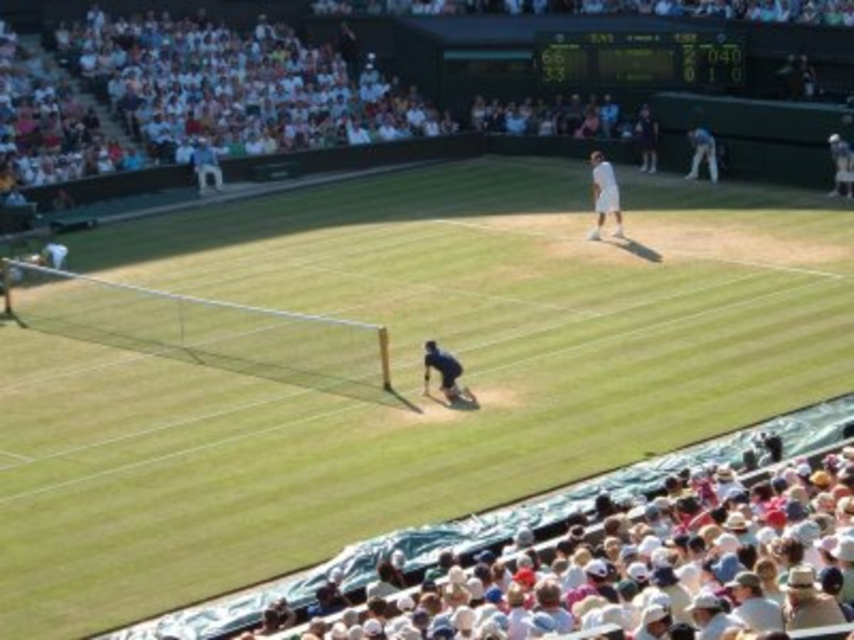 Roger Federer playing at Wimbledon in 2006