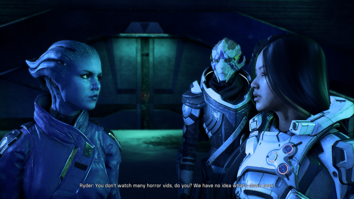 My screenshot of Ryder warning Peebee not to leave the group.