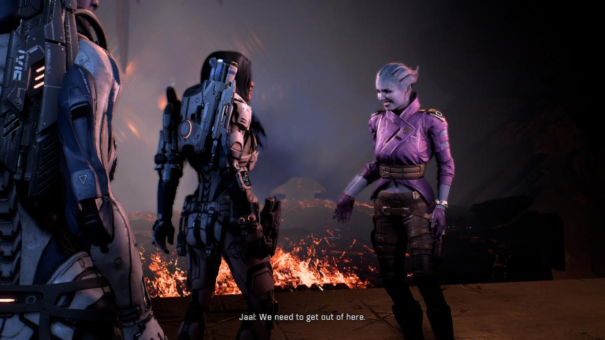 Peebee grins when Kalinda is spared.