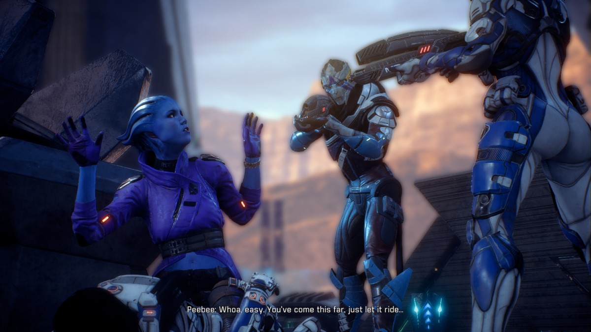 My screenshot of Peebee pouncing Ryder while Vetra and Cora threaten her.
