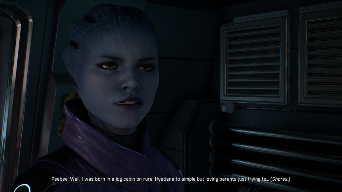 My screenshot of Peebee refusing to speak of her backstory.