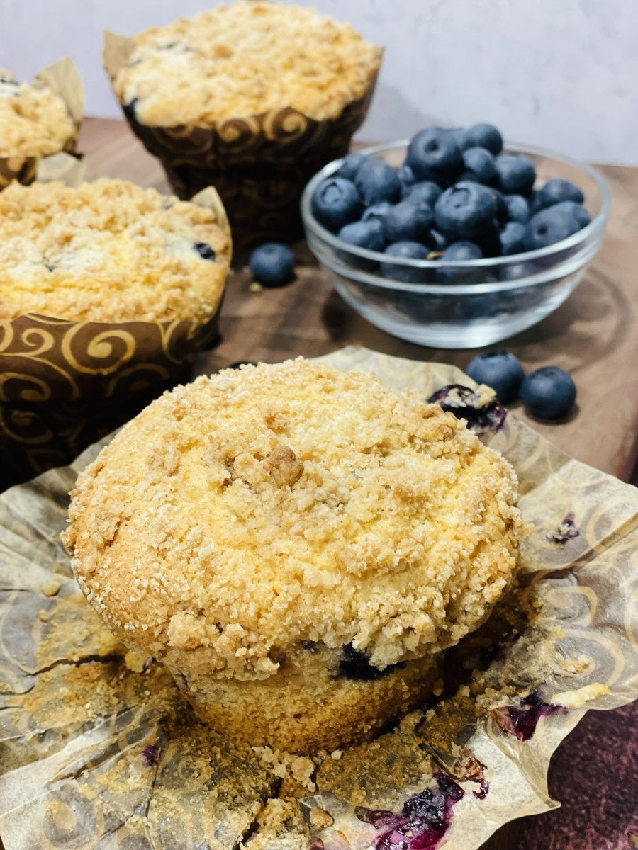 Scrumptious blueberry muffins with streusel topping. I loved every bite!