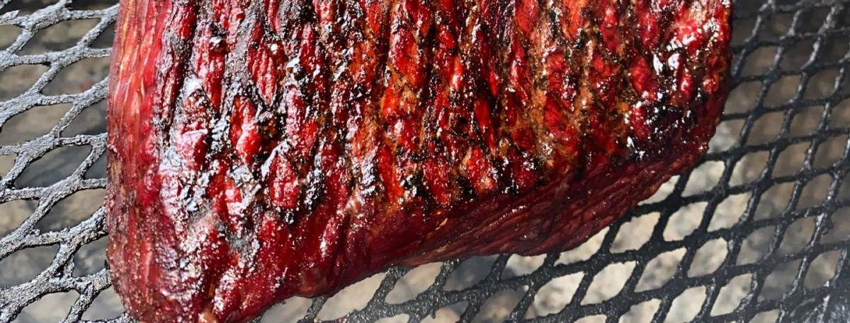 This brisket was part of a beef flank, and it was grilled using the pit beef method. Unlike traditional competition brisket, it will be sliced paper-thin. Used with permission from Wayne Schafer, owner, Big Fat Daddy's.