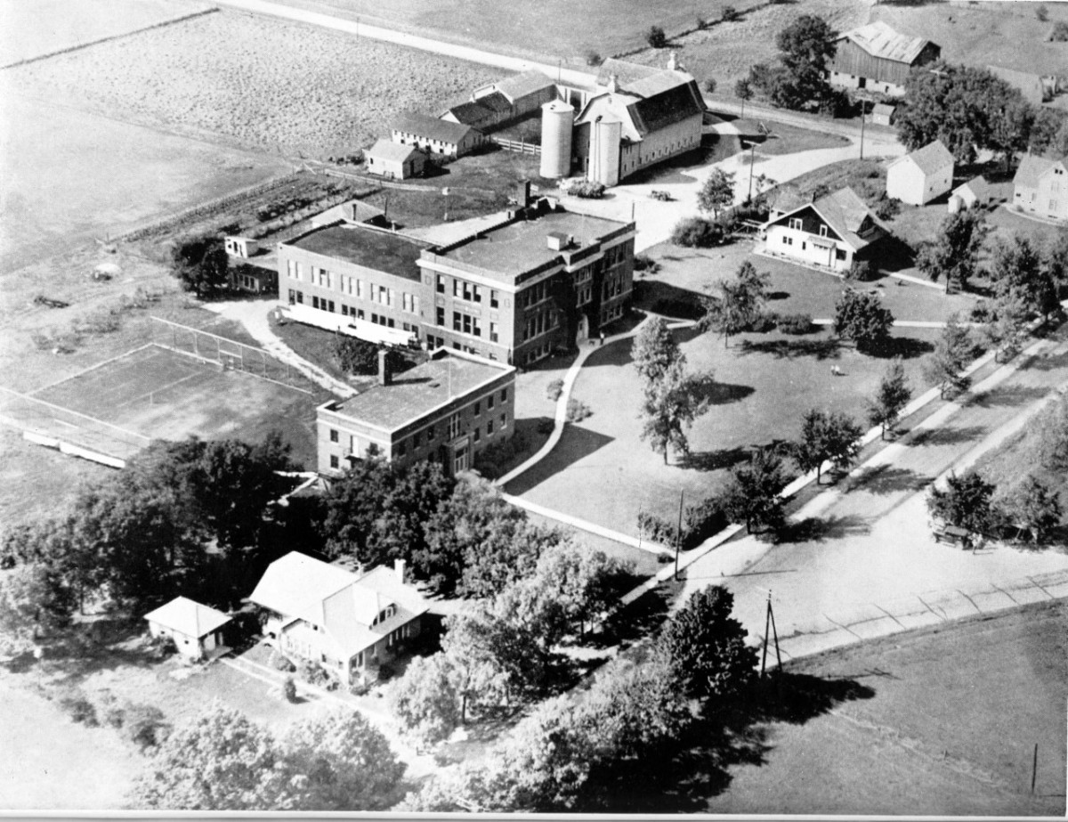Campus of the Racine County School of Agriculture and Domestic Economy at Rochester. Picture taken at an unknown time between 1912 and 1959.