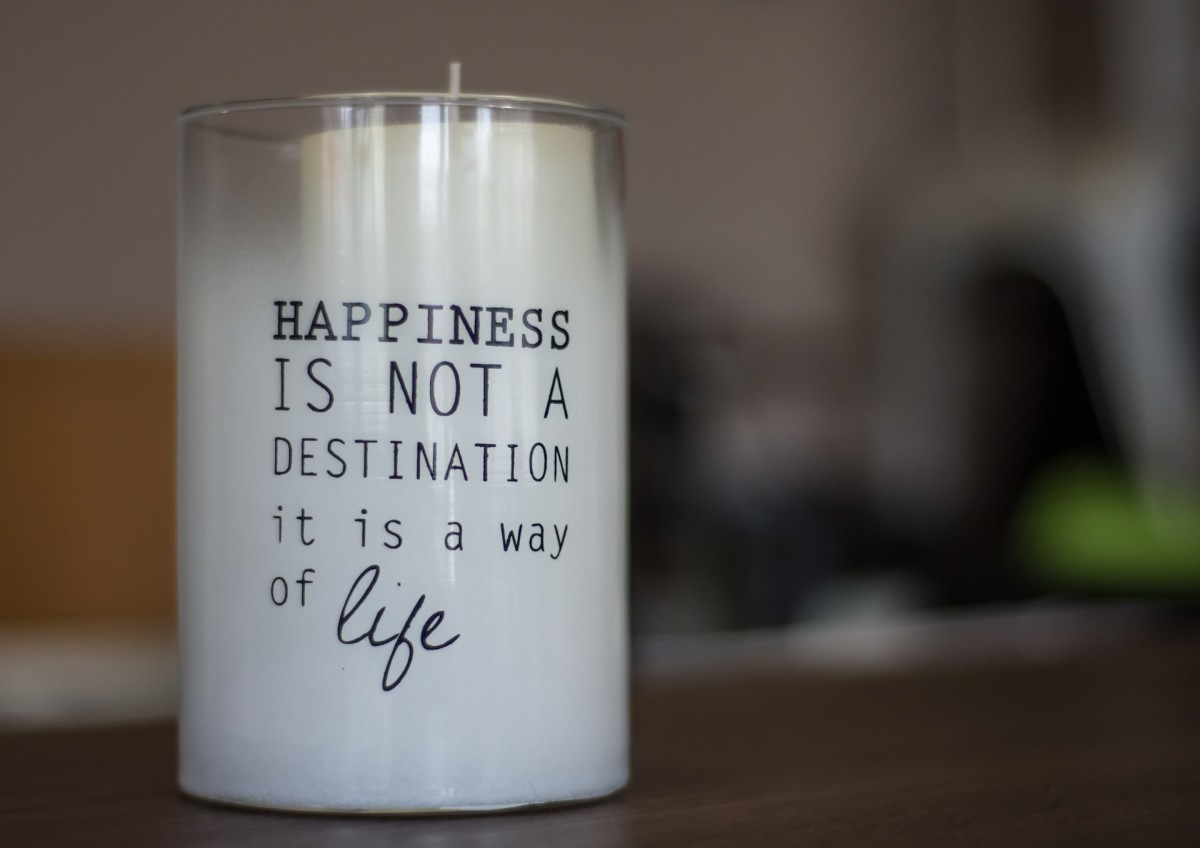 Quote Candle says Happiness is Not a Destination