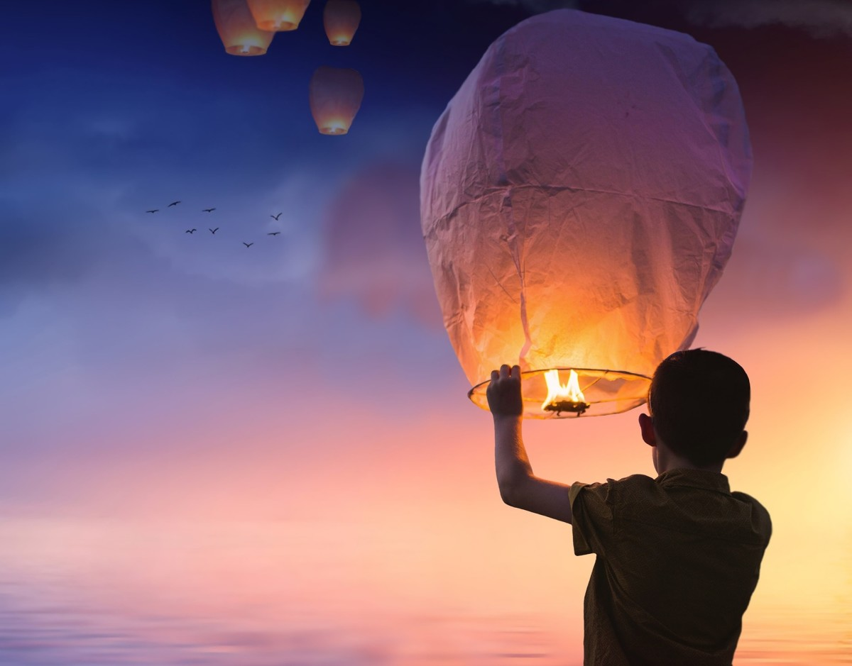 Boy with Candle Hot Air Balloon