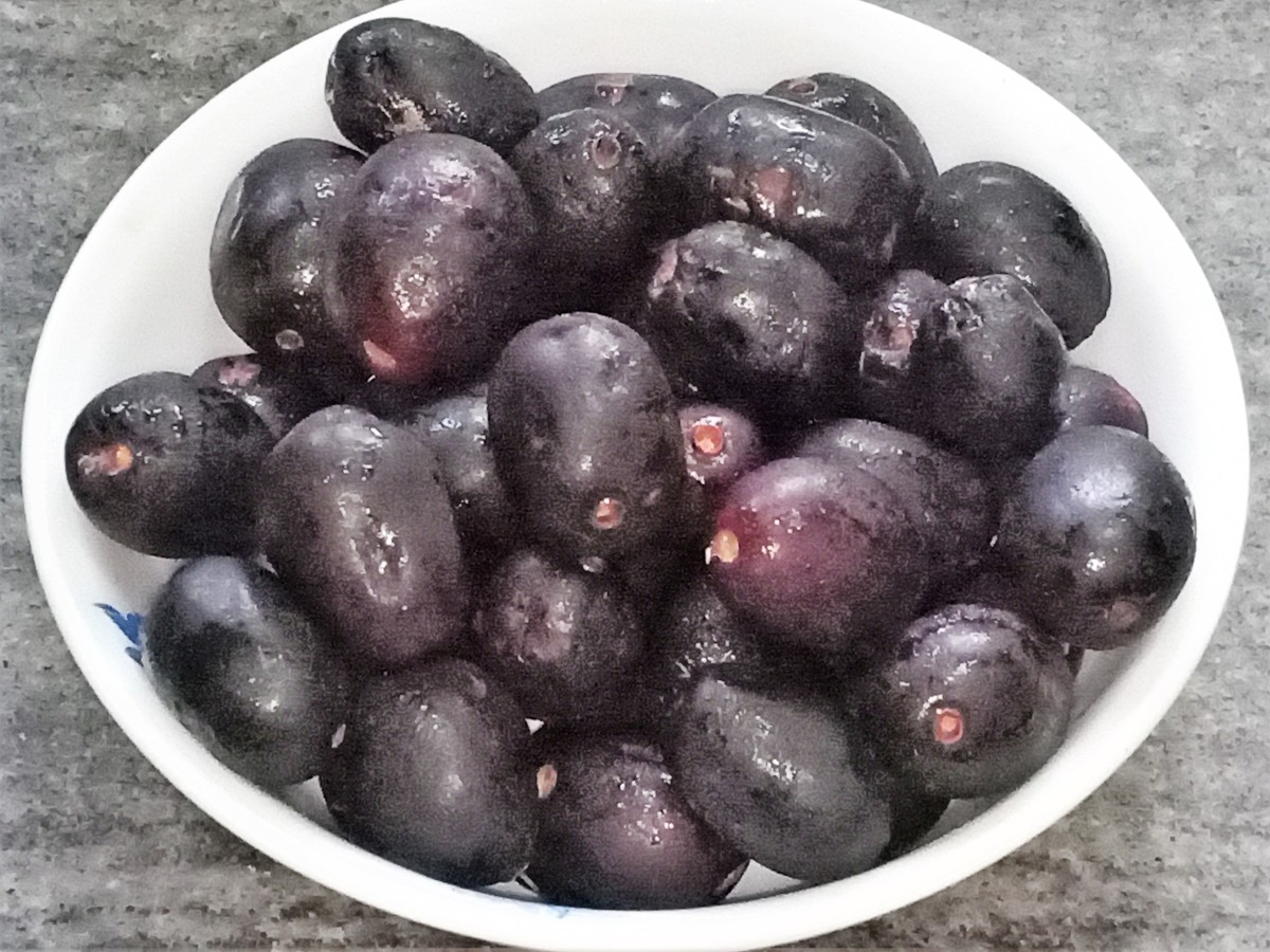 Bowl of jamuns (Indian blackberries)