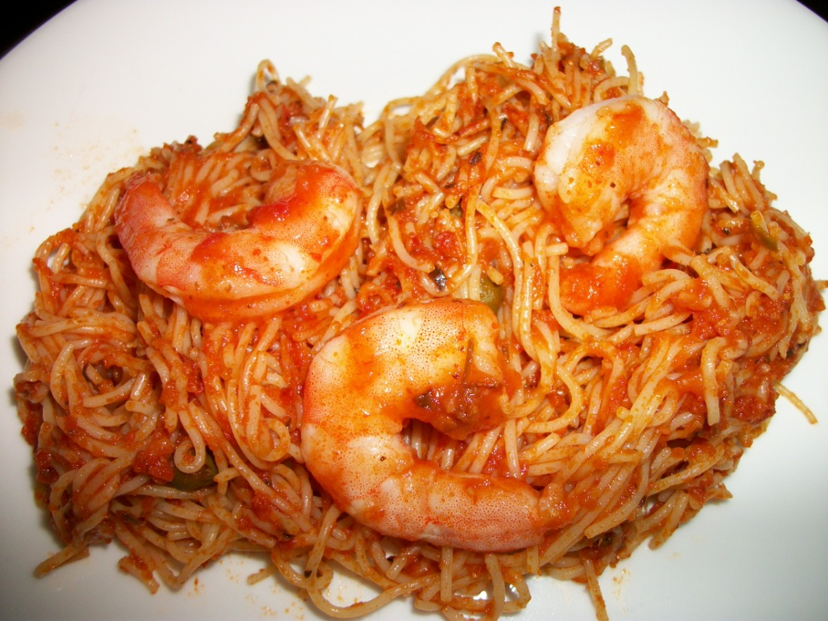 Angel Hair Pasta with Shrimp in tomato pasta sauce