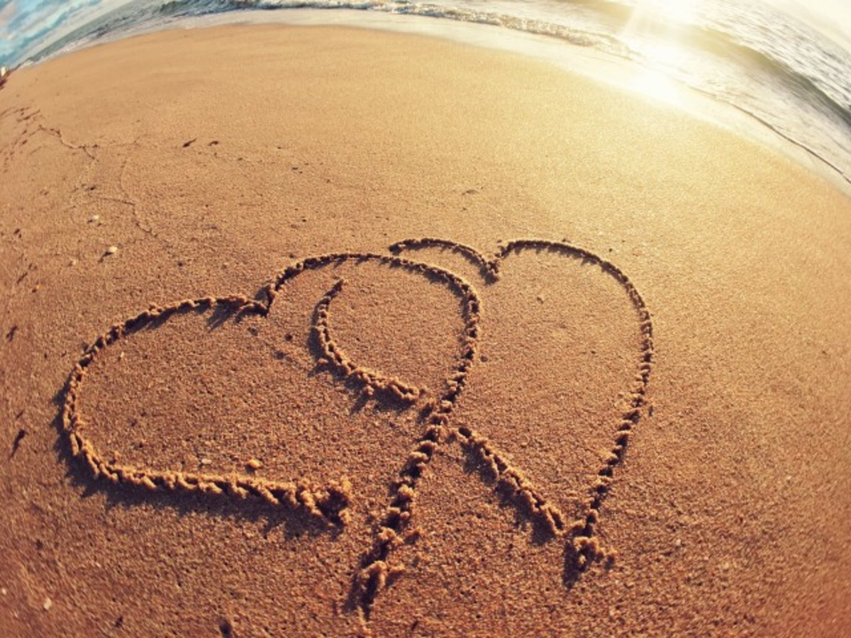 Proof that lovers use sand for a piece of paper to write their names.