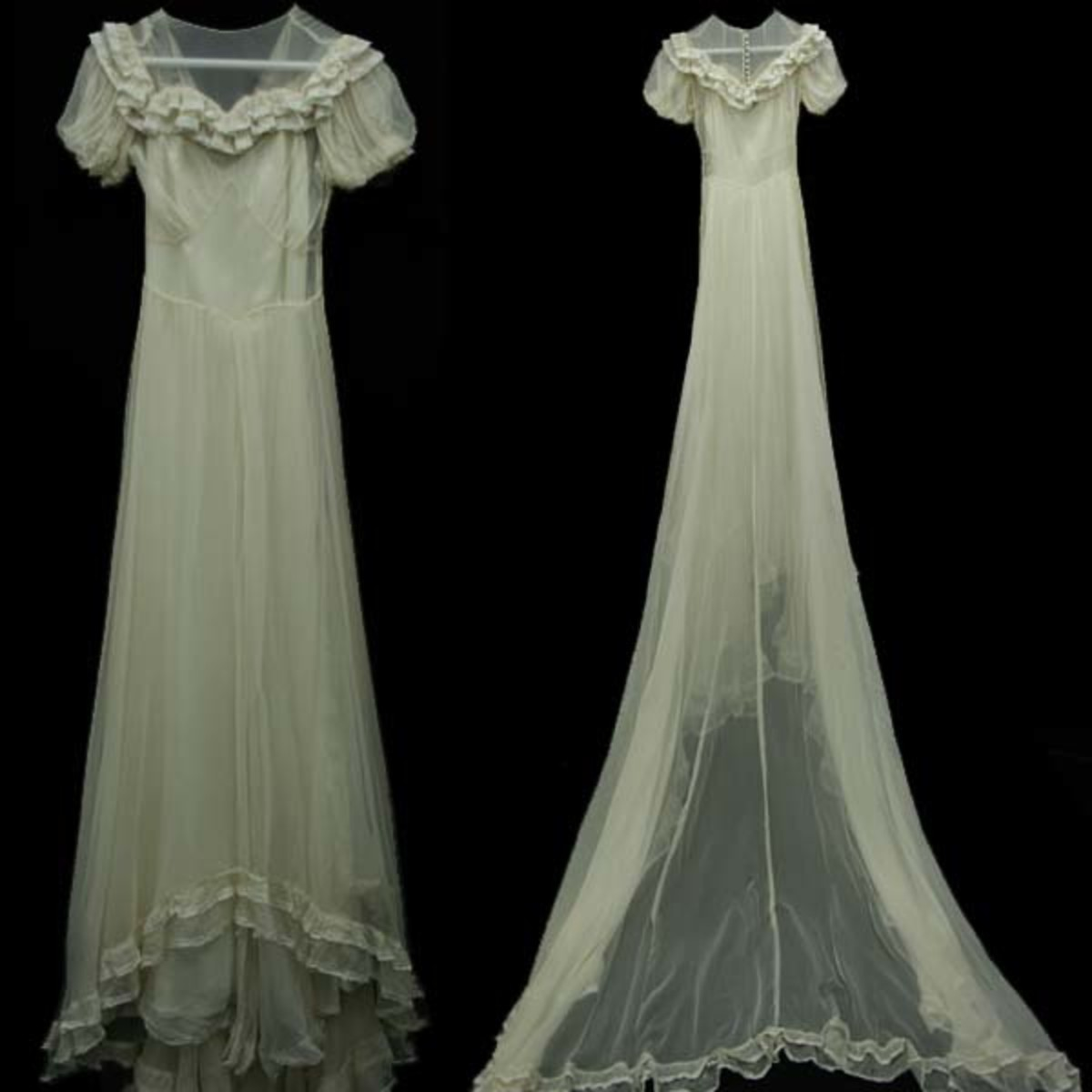 wedding dress in Chiffon, with a beautiful elegant design. Train is 60 inches long, has a pinprick hole on front, if sewn would definitely not be seen. to fit a bust 30, waist 22.  Price $275 from vintagetrends.com